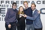 Left to right: Li Tavor, Ani Vihervaara, Matthew van der Ploeg and Alessandro Bosshard. Project team for the Swiss Pavilion at the 16th International Architecture Exhibition - La Biennale di Venezia, May 2018 receiving the Golden Lion, 26 May 2018. Photo: Peter Klaunzer / KEYSTONE